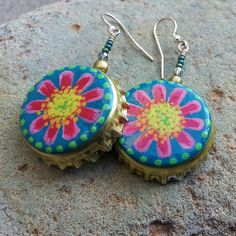 And more! Hand-painted bottle cap earrings  with flower design.. $29.00, via Etsy.