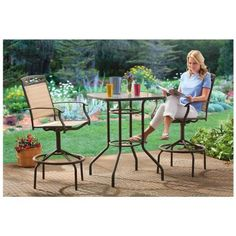 castlecreek 3 piece patio bistro dining set bar height - Bar Height Patio Chairs