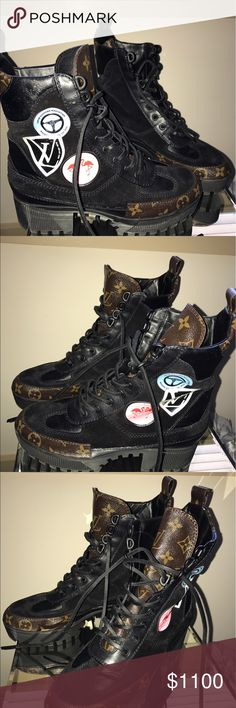 Lv limited edition combat boots with patches Lv combat boots with patches worn once Louis Vuitton Shoes Combat & Moto Boots