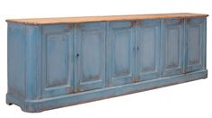 Sideboard Cabinet Buffet Table Long 10' Blue Washed Antique Pine Reclaim New  #RomanticShabby #ELLEDECOR