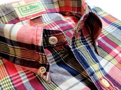 Vintage Mens LL Bean India Madras HalfSleeve by TheIvyLeagueShop