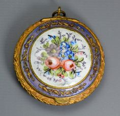 Antique GUILLOCHE ENAMEL Handpainted Flowers Powder by Foxing, £95.00