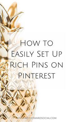 Easily set up Rich Pins Make Money Blogging, How To Make Money, Earn Money, Marketing Digital, Media Marketing, Marketing Strategies, Online Marketing, Facebook Marketing, Content Marketing