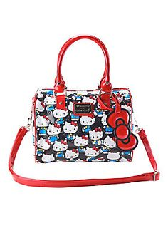 """<p>Patent faux leather barrel bag from Loungefly with classic <i>Hello Kitty</i> print and embossed bows design. Puffy bow hang tag. Interior zipper & pouch pockets. Adjustable red patent strap.</p>  <ul> <li>10"""" x 6"""" x 8""""</li> <li>Man-made materials</li> <li>Imported</li> </ul>"""