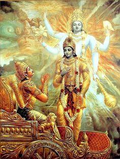 Krishna Showing Vishvarupa to Arjuna before kurukshetra War Radha Krishna Songs, Krishna Mantra, Krishna Art, Krishna Quotes, Hare Krishna, Krishna Leela, Lord Shiva Painting, Krishna Painting, Krishna Avatar