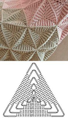 Crochet Triangle Pattern, Crochet Motif Patterns, Crochet Diagram, Crochet Chart, Crochet Squares, Crochet Basics, Crochet Designs, Crochet Hexagon Blanket, Crochet Blankets