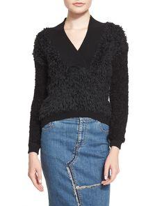 Boxy Rag-Rug Sweater, Black