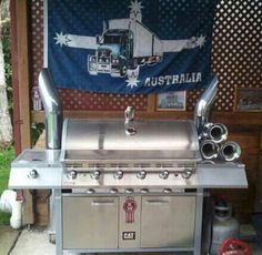 Www.DieselTees.com kenworth grill with stacks and train horns. Best bbq ever!