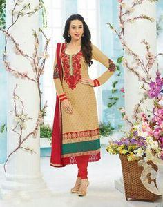 Aura Biege and Red Semi-Stiched Designer Salwar Suit