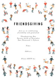Create a beautiful Friendsgiving event with a downloadable invitation, menu card, recipe card, and package label