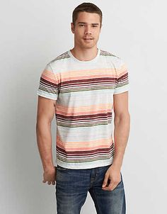 Shop casual Men's T Shirts at American Eagle. Find crew neck t shirts, henley t shirts, graphic tees, v neck t shirts, drop shoulder t shirts & more in new colors and styles. Polo Tees, Mens Outfitters, Colorful Fashion, Short Sleeve Tee, V Neck T Shirt, Men Casual, Menswear, Stripes, Clothes For Women