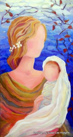 Mother Eve and Baby Child Original Oil Painting by aromatique, $500.00