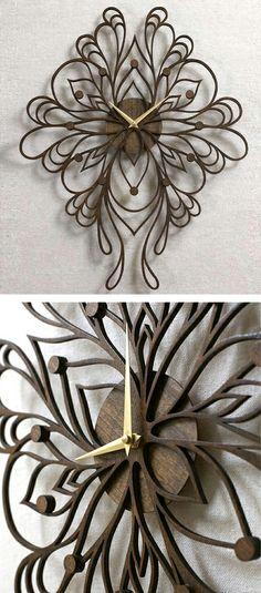 Ornate laser cut clock #cutout