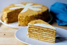 This cake is eight paper-thin cake layers with a creamy, slightly tangy filling and coating. It mostly tastes like dreamy frosted graham crackers.