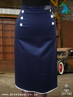 Navy sailor skirt with back flounce by MissHapp on Etsy, $49.50