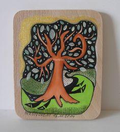 DER BAUM AM KATZENWEG von Herbivore11 Unikat Holz Bild Katze Baum kleine Kunst