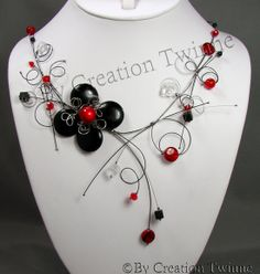 Bridesmaid Necklace Gift, Handmade Necklaces, Handmade Gifts, Asymmetrical Design, Jewelry Design, Unique Jewelry, Organic Shapes, Swirls, Red Black