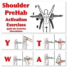 Help Activate the Posterior musculature around your shoulders with Y-T-W-A's. This PreHab exercise will help synergies and stabilize your… Shoulder Rehab Exercises, Shoulder And Arm Workout, Shoulder Training, Shoulder Stability Exercises, Rotator Cuff Rehab, Rotator Cuff Exercises, Outdoor Workouts, Gym Workouts, How To Cure Depression
