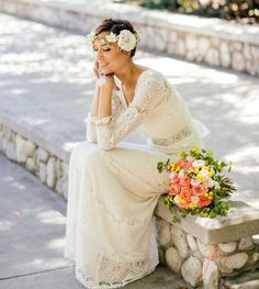 InStock Sz XS-S, Cream V Neck, 3/4 Sleeves, Vintage, Rustic Inspired Wedding, Bohemian Wedding, Eyelash Embroidery Lace Gown, Dressmesewchic