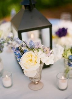 Lantern and Flower Wedding Table Decoration