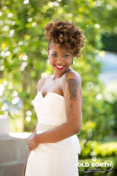 Prettiest tattoo bride.  Phylicia // Natural Hair Bride