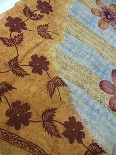 Georgette sari  saree fabric Quilt Craft Brown floral design sari