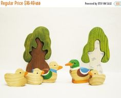 ON SALE 35% OFF Toys set Ducks 5pcs Learning by WoodenCaterpillar