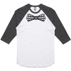 theIndie Chequered Bow Tie (Black) 3/4-Sleeve Raglan Baseball T-Shirt