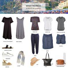 These are my tips on what to pack for a holiday in Europe spring-summer 2018 as well as two capsule wardrobes for you to use as starting points for creating your own travel capsule. Holiday Wardrobe, Holiday Outfits, Spring Outfits, Europe Travel Outfits, Travel Outfit Summer, Travel Europe, Europe Packing, Travel Clothes Summer, Travel Wardrobe Summer