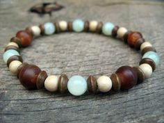 Mens bracelet jade horn and wood beads by thehappymushroom on Etsy, £6.20