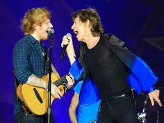 Musician Ed Sheeran joins Mick Jagger of The Rolling Stones during The Rolling Stones 'ZIP CODE' Tour at Arrowhead Stadium in Kansas City, Mo.  Jason Squires, WireImage