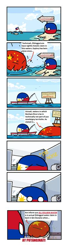 The Precarious Situation of the Philippine Waters - polandball Puns Jokes, Funny Puns, Funny Cartoons, Funny Comics, Filipino Memes, Filipino Tattoos, Funny Tweets Twitter, Funny Animals With Captions, Some Jokes