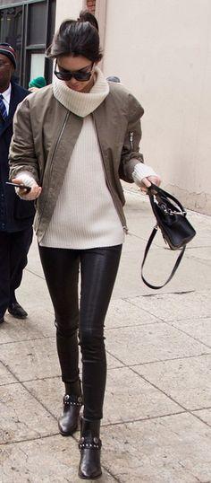 Kendall Jenner in L8007 Leather Legging in Black. #JBRAND