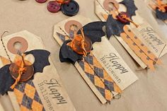 Halloween tags - love the button bats