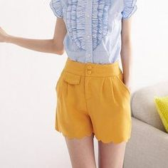 Pleated Scalloped-Hem Shorts