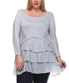 239278f63095 Plus Size Layered Ruffle Crochet Knit Sweater Girl Swag, Knitted Fabric,  Scoop Neck,