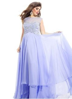 Empire Scoop Neck Sweep Train Chiffon Evening Dress With Beading