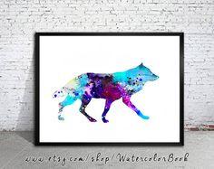Wolf 9 aquarelle Print, Archiv... Fine Art, Wall Art enfants, décoration, peinture aquarelle, aquarelle, aquarelle animaux de loup