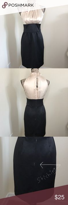 *London Times* Champagne Dress NWT!!! Champagne colored top with black bottom. Very figure flattering Dress. Sticking at bottom of zipper coming loose from trying on. Easy fix though.100% Polyester combo London Times Dresses Midi