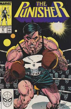 The Punisher #21 Erik Larsen Cover Art. The Punisher uncovers a crooked boxing promoter's scheme to bank a million bucks for himself— by wrecking the career and the life of the boxer who trusts him. Story by Mike Baron. #thepunisher #punisher #marvelcomics #marvel