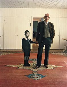 Saul Steinberg with himself as a little boy, Long Island, 1978