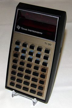 Vintage Texas Instruments Pocket LED Calculator, Model TI-30, Made in USA, the Best Selling TI Calculator, a Very Common TI Calculator, Circa 1976.