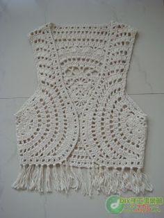 Katia Ribeiro Moda & Decoração Handmade: Colete em crochê com pap