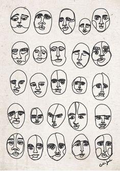 Print: Man of many faces. #illustration #art