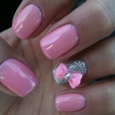 3D bow nail art- they matched the color of the bow to the polish PERFECTLY!