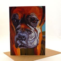 Pet Portrait Boxer Dog Greeting Card by BarkingDogCreations, $3.00