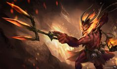 Devil Thresh skin - LoL by SimonBoxer on DeviantArt Lol League Of Legends, Lee Sin, League Memes, Fantasy Weapons, Top 5, The Witcher, Funny Games, Good Skin, Game Art