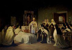 """Con Contritum et humiliatum,Deus non dispitres."" // Viaticum of Saint Teresa of Avila / Viático de santa Teresa // 1870 // Pablo Pardo González // #Eucharist #Eucaristía #Carmelite"