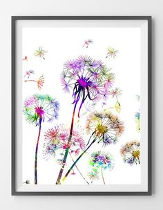 Dandelion Watercolor Print, Wall Art, wall decor Gift, Giclee Print, Dandelion close up poster, wall art, botanical art, love dandelions Illustration [NO27]. Si