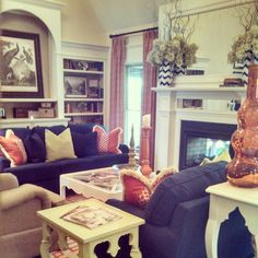 Living room. Love the cozy slightly preppy feel